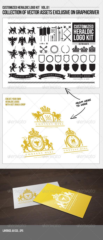 Customized Heraldic Logo Kit Vol. 01 - Decorative Vectors