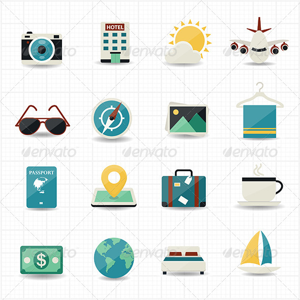 GraphicRiver Travel Icons and Hotel Icons with White Background 7574593