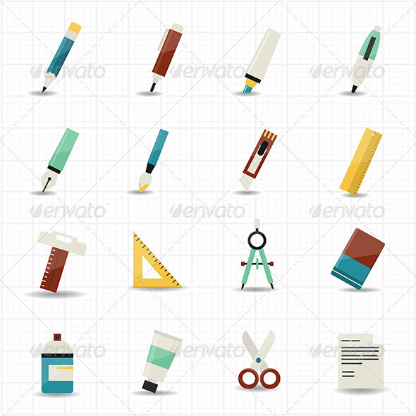 GraphicRiver Drawing Painting Tools Icons and Stationery Set 7574602