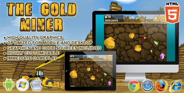 CodeCanyon Gold Miner HTML5 Game 7574673