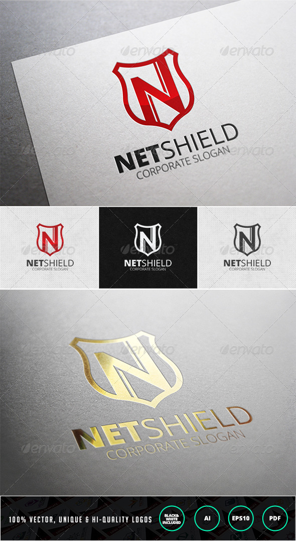 Net Shield Logo Template - Letters Logo Templates