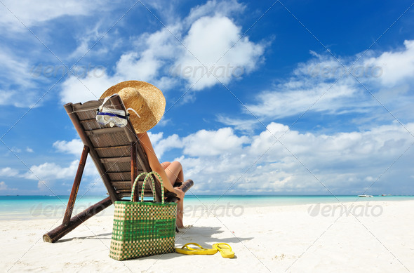 Girl on a beach - Stock Photo - Images