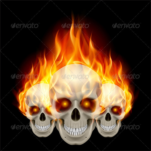GraphicRiver Three Flaming Skulls 7574858