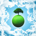 3D render of a grassy globe with a tree - PhotoDune Item for Sale
