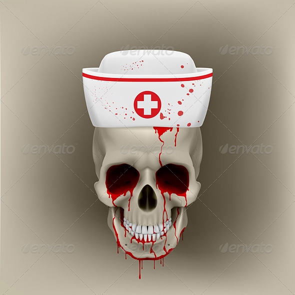 GraphicRiver Bleeding Skull in Nurse Cap 7575303