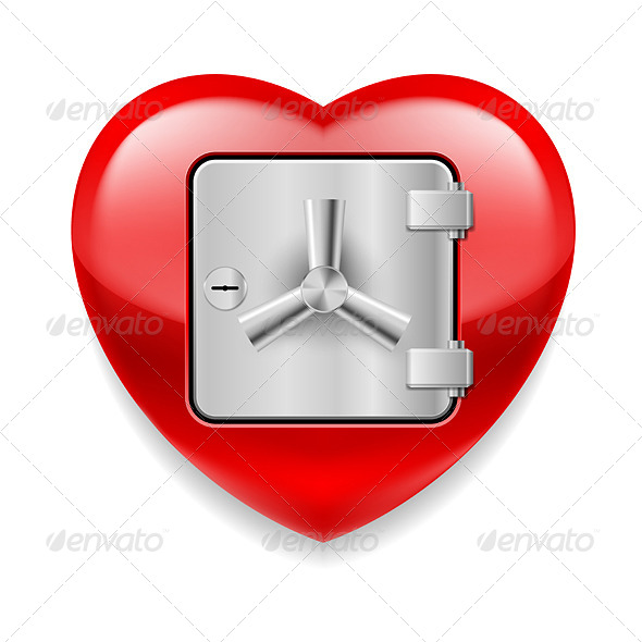 GraphicRiver Shiny Red Heart as a Safe 7575310