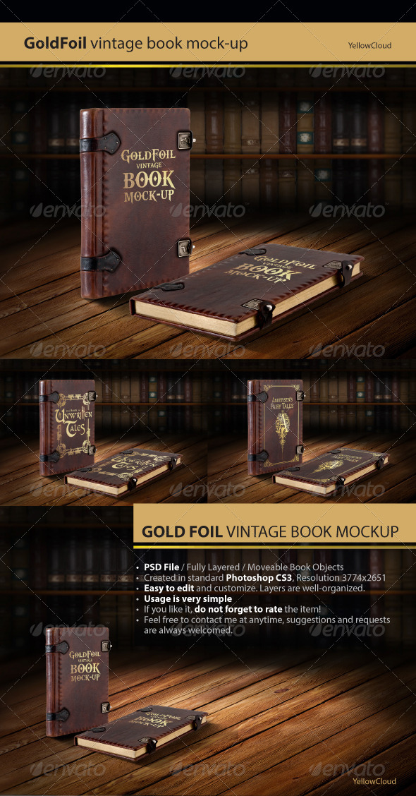 GraphicRiver Gold Foil Vintage Book Mock-Up 7575394