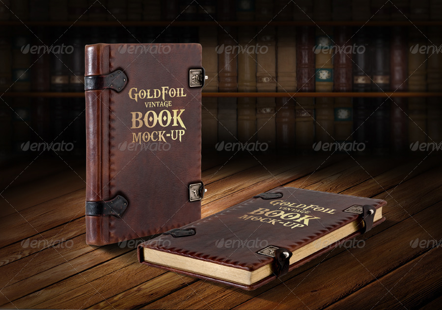 Vintage Soft Cover Book Mock Up ~ Gold foil vintage book mock up by yellowcloud graphicriver