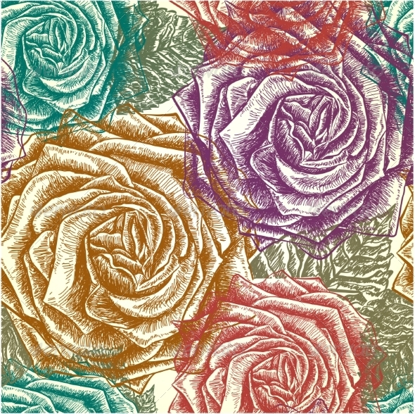 GraphicRiver Seamless Roses Pattern 7575491