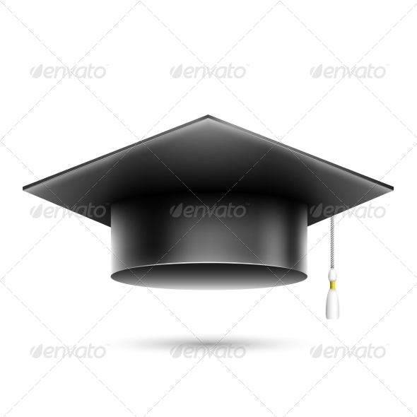 GraphicRiver Isolated Realistic Black Student Hat 7575940