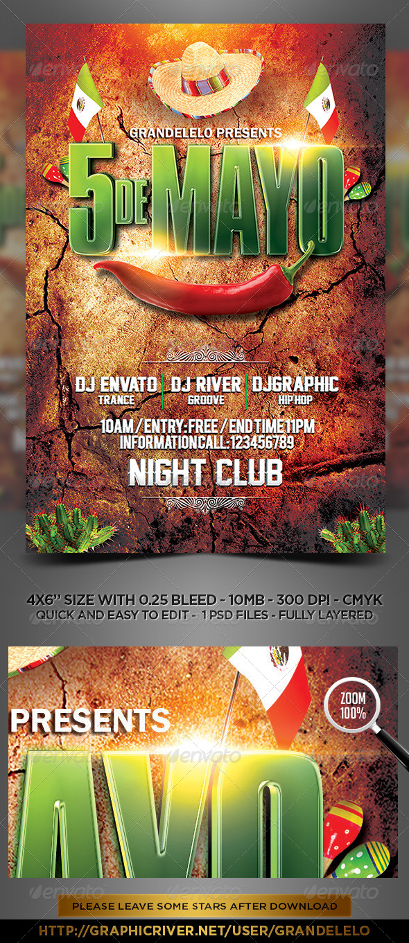 GraphicRiver 5 de Mayo a Mexican Party Flyer Template 7576271
