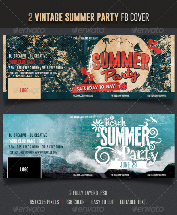 GraphicRiver Vintage Summer Party Facebook Cover 7576803