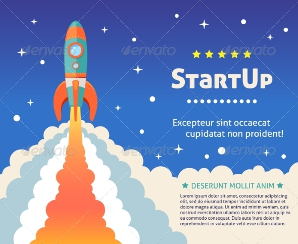 GraphicRiver Rocket Start Up Background 7576880
