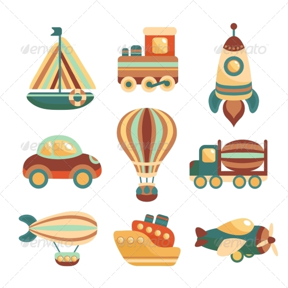 GraphicRiver Transport Toys Icons Set 7576903