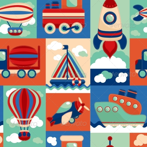 GraphicRiver Transport Toy Seamless Pattern 7576905