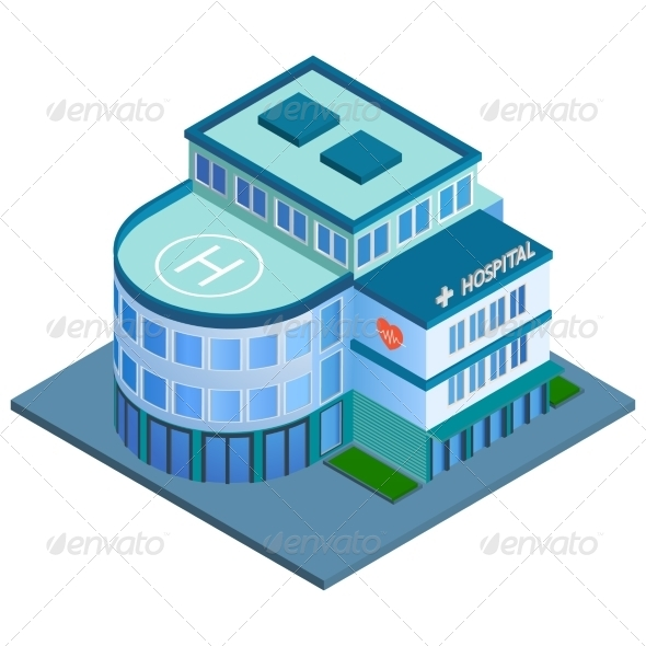 GraphicRiver Hospital Building Isometric 7576917