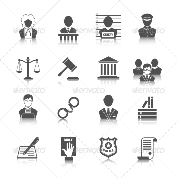 GraphicRiver Law and Justice Icons Set 7576967