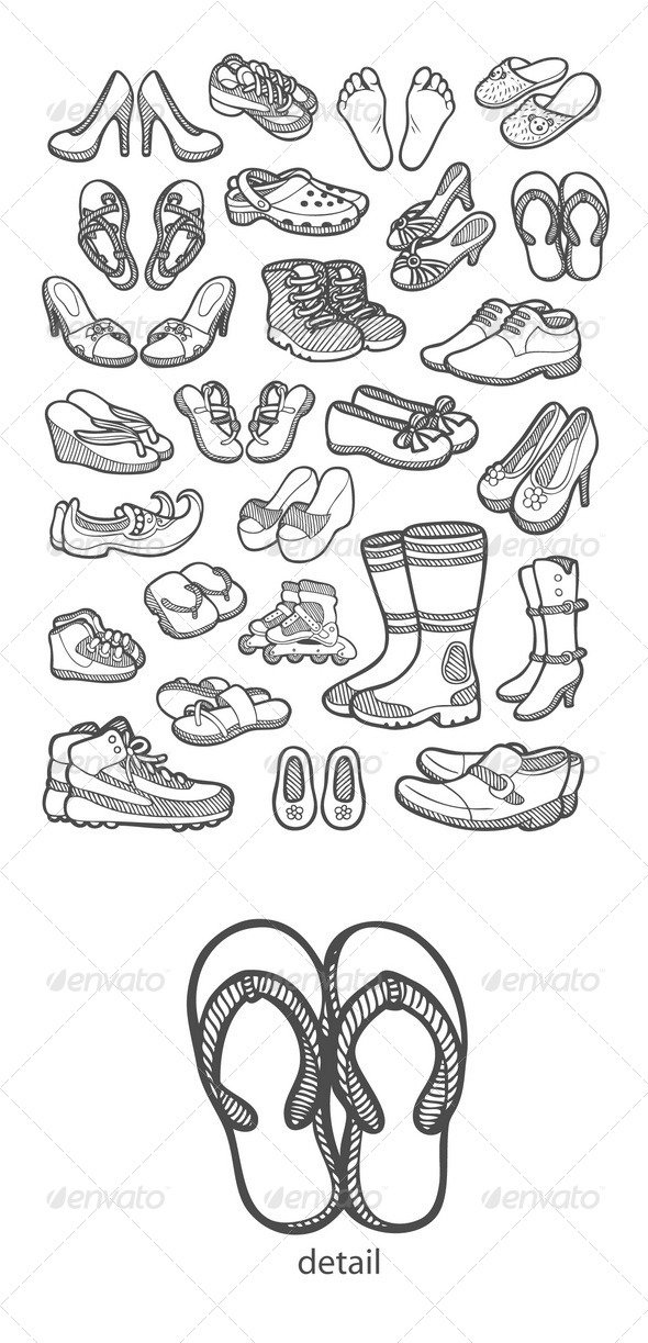 Shoes Icons Sketch - Man-made objects Objects