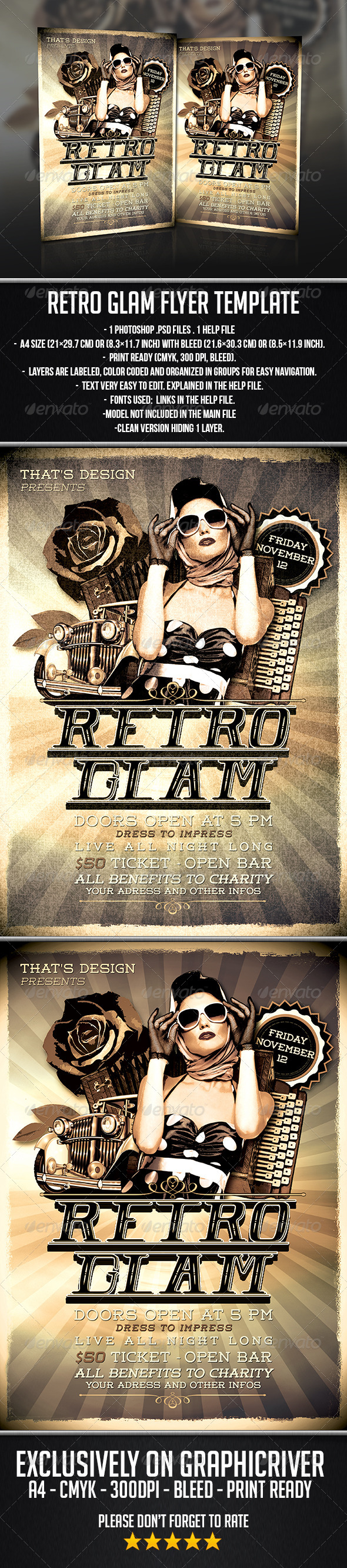 GraphicRiver Retro Glam Flyer Template 7577112