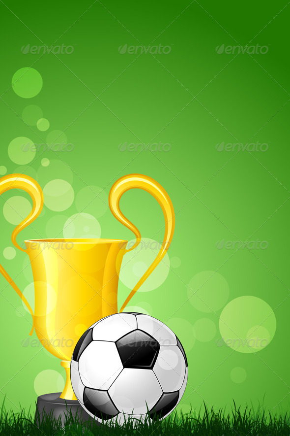 GraphicRiver Soccer Ball with Trophy on Green Grass 7577127