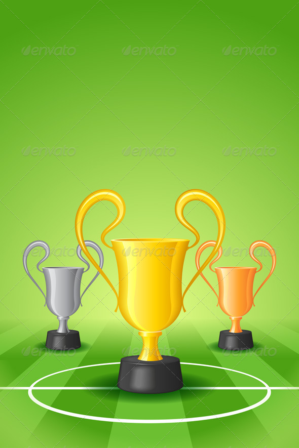 GraphicRiver Soccer Background with Three Award Trophy 7577277