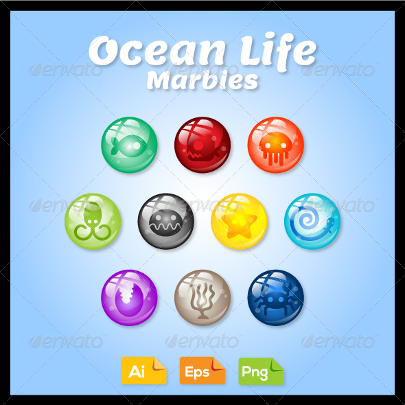 GraphicRiver Game Asset Ocean Life Marbles 7577758