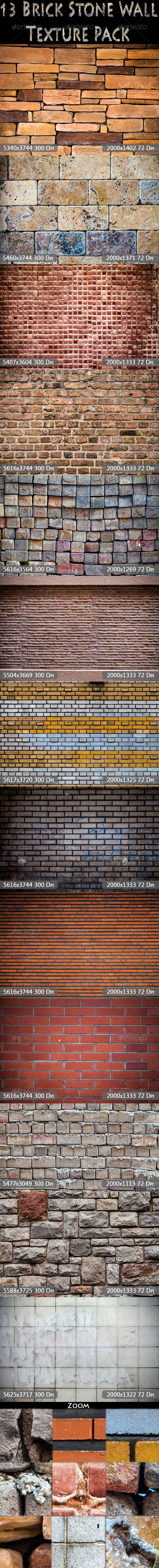 GraphicRiver 13 Brick Stone Wall Textrue Pack 7577801