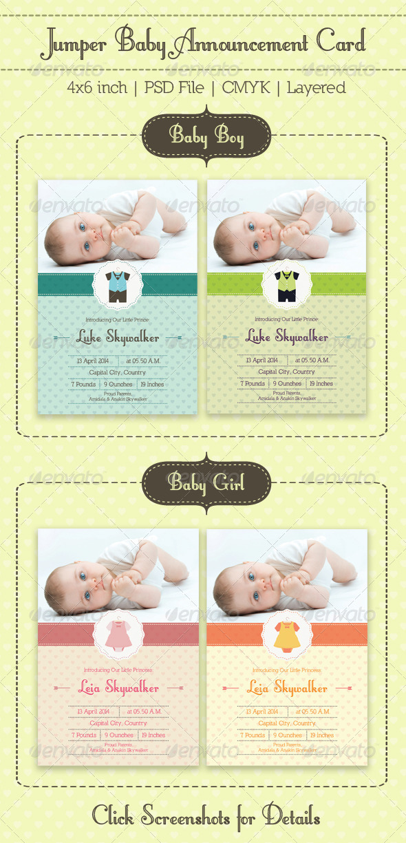 GraphicRiver Jumper Baby Announcement Card 7577963