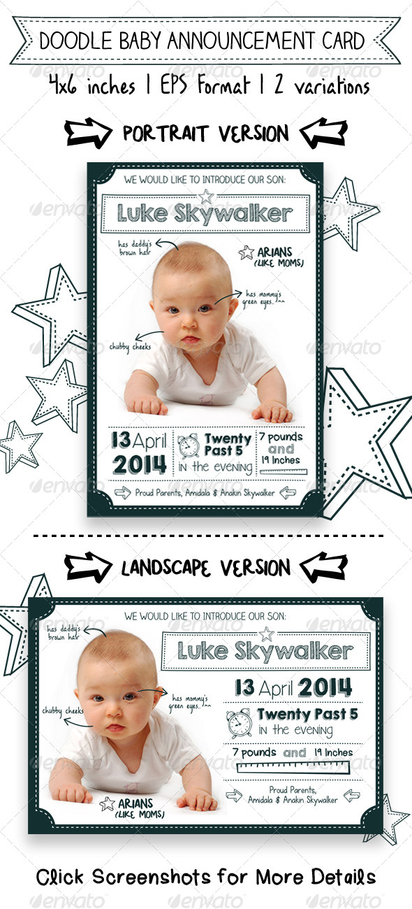 GraphicRiver Doodle Baby Announcement Card 7578487