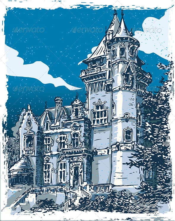 GraphicRiver Vintage Hand Drawn View of Old Castle in Belgium 7578544