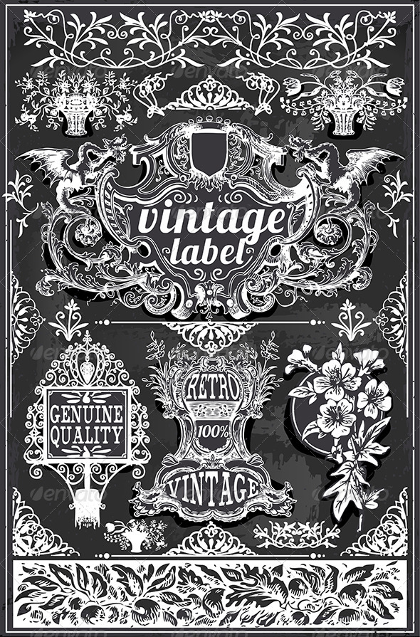 GraphicRiver Vintage Hand Drawn Graphic Labels on Blackboard 7578597