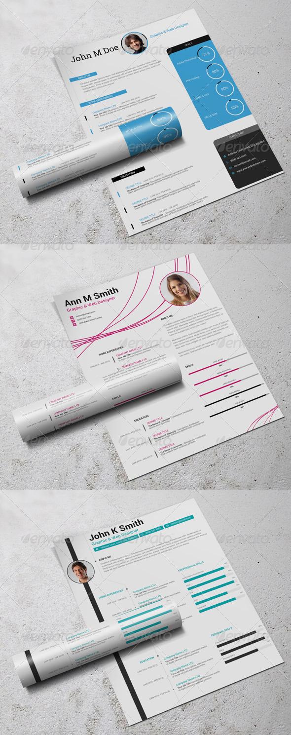 GraphicRiver 3in1 Simple Resume CV Bundle 7578700