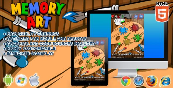 CodeCanyon Memory Art Simon game clone HTML5 Game 7578935