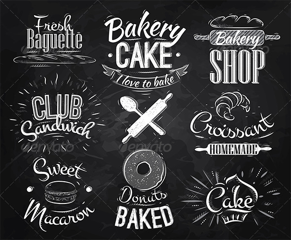 GraphicRiver Bakery Characters Chalk 7579330