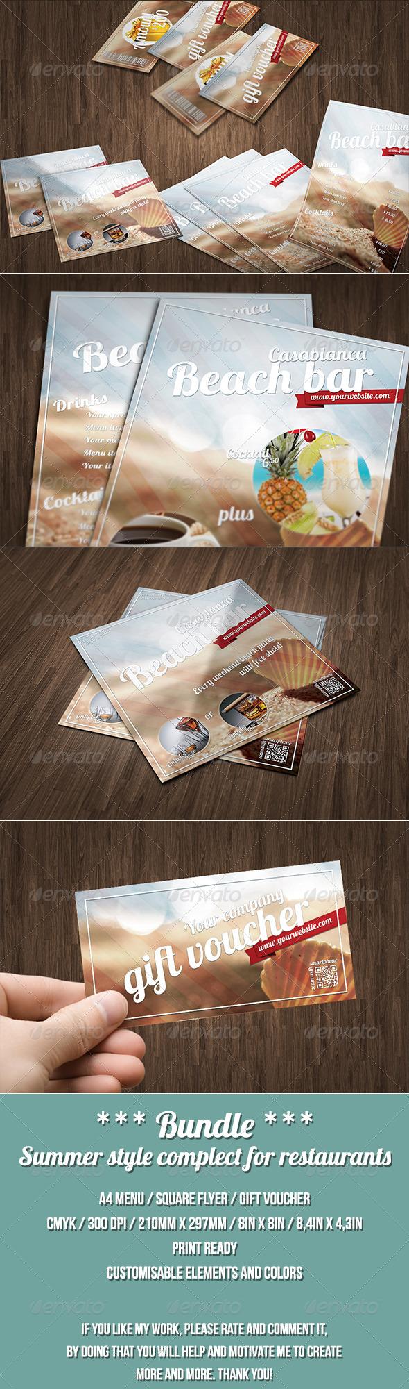 GraphicRiver Restaurant or bar BUNDLE summer style 7580628