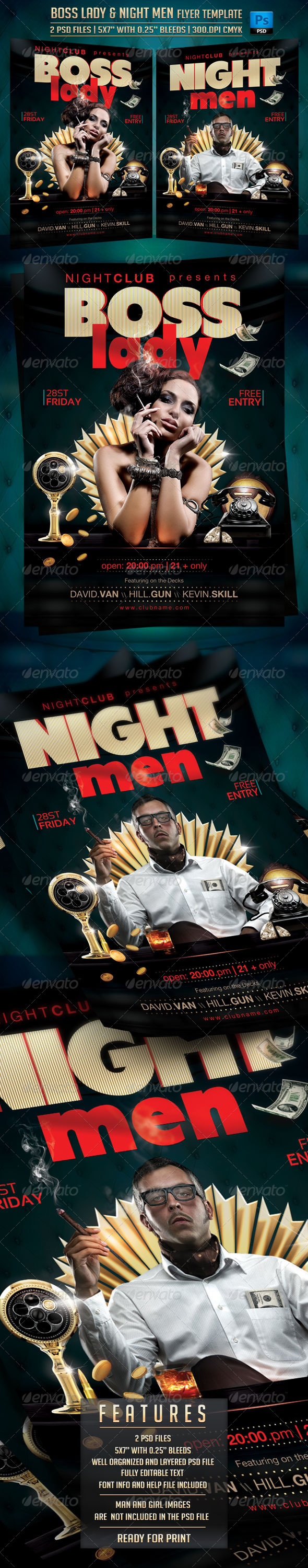 GraphicRiver Boss Lady and Night Men Flyer Template 7580633
