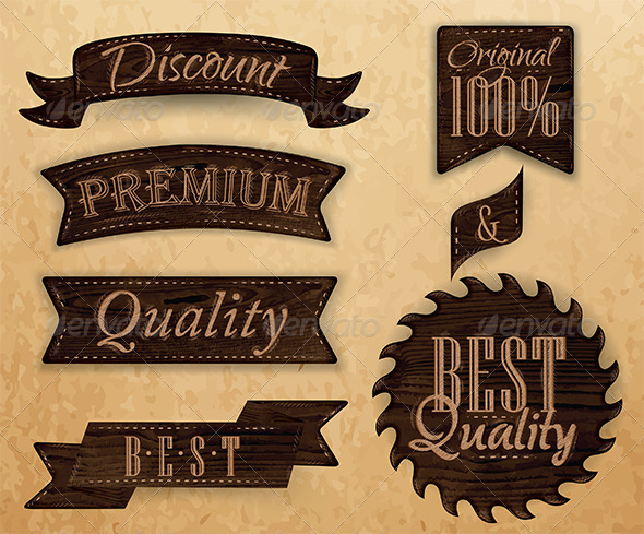 GraphicRiver Set of Ribbons and Labels Wood 7580708