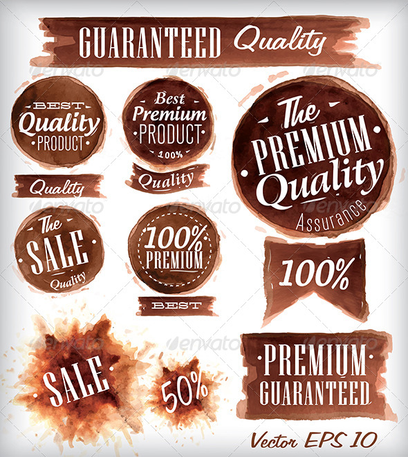 GraphicRiver Set of Watercolor Old Premium Brown 7580822