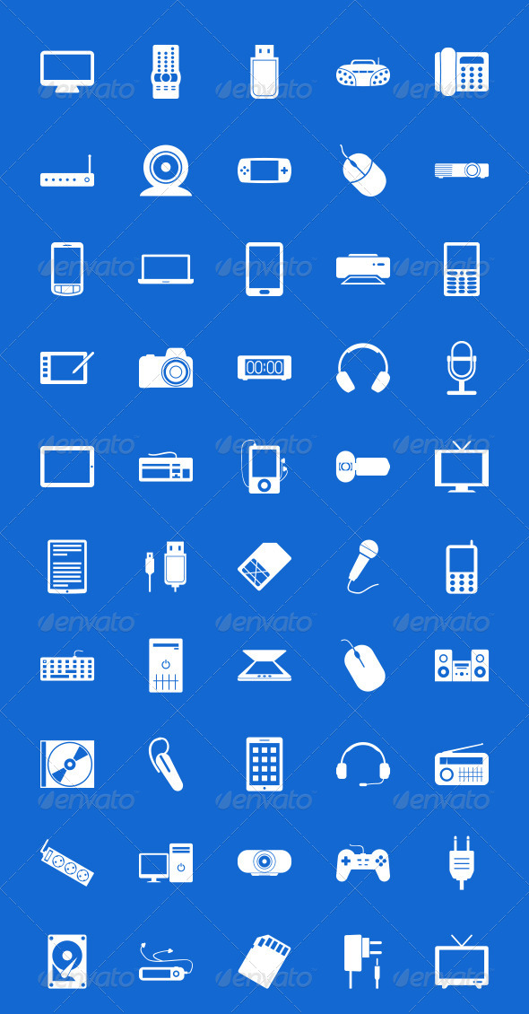 GraphicRiver 50 Electronics Icons 7580845