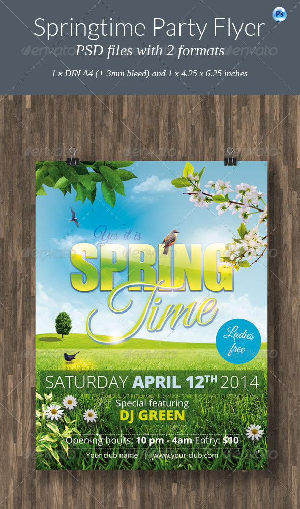 Springtime Party Flyer - Clubs & Parties Events