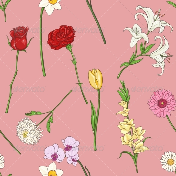 GraphicRiver Seamless Pattern of Flowers 7581665