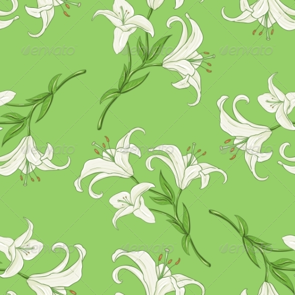 GraphicRiver Seamless Pattern of Lily on Green Background 7581718