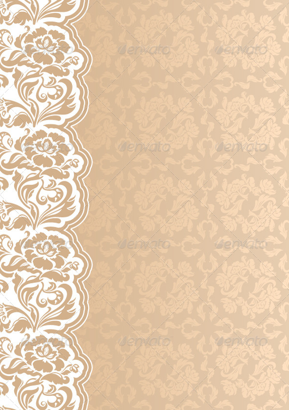 Floral Beige Background with Lace