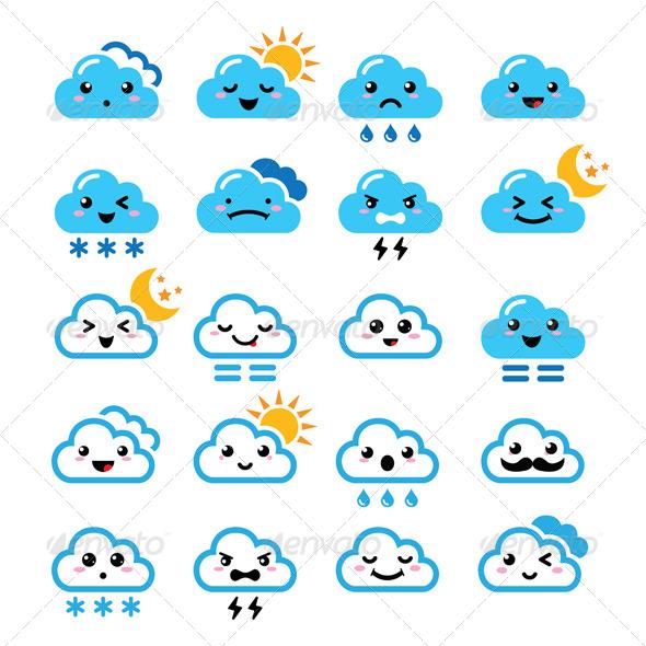 GraphicRiver Cloud Manga Icons Set 7582055
