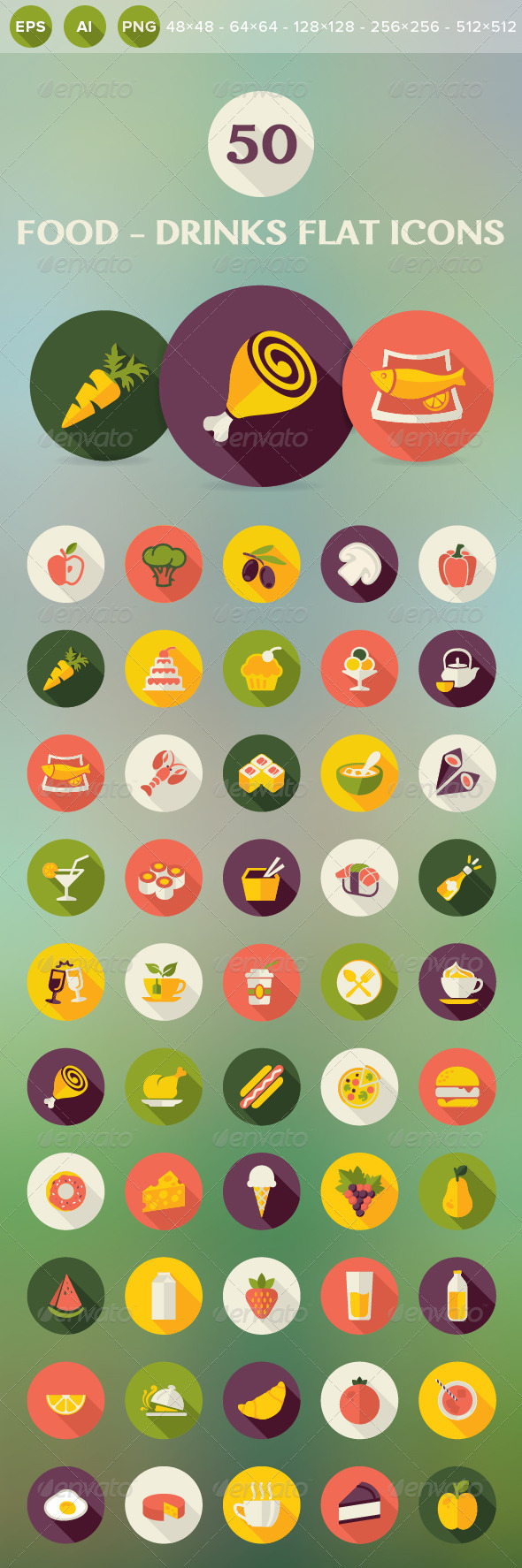 GraphicRiver Food and Drinks Flat Icons 7582087