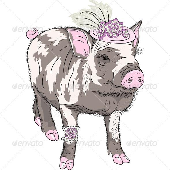 GraphicRiver Fashion Piggy in a Hat 7582283