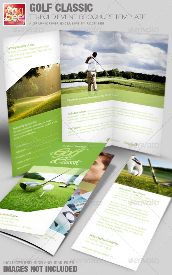 informational brochure templates - golf classic event tri fold brochure template graphicriver
