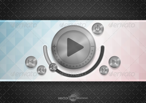 GraphicRiver Abstract Technology App Icon with Music Buttons 7582587