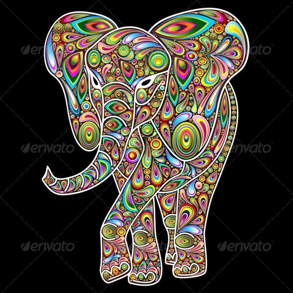 GraphicRiver Elephant Psychedelic Pop Art Design 7582829