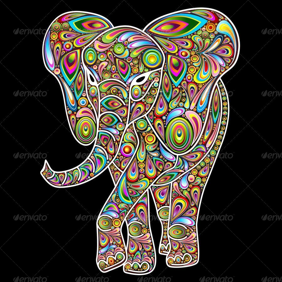 elephant psychedelic pop art design by bluedarkat graphicriver. Black Bedroom Furniture Sets. Home Design Ideas